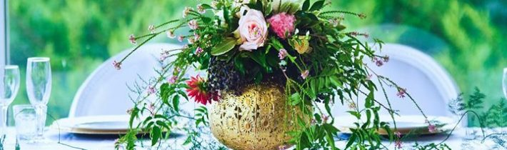 Gold is trending now and looks great teamed with fresh flowers Gold props from…