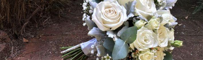 Simple white flowers for Hannah & Harley at Tamborine Gardens Wedding and Function Resort…